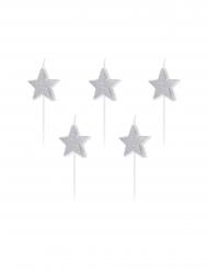 5 Bougies d'anniversaire sur pic étoiles argentées pailletées 3,5 cm