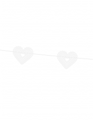 Guirlande en papier cœurs dentelle blanche 8 cm x 1,8 m