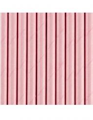 10 Pailles en carton rose clair 19,5 cm