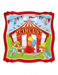 8 Assiettes en carton carrées circus party 24 cm