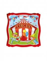 8 Petites assiettes en carton carrées circus party 19 cm