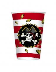 8 Gobelets en carton pirates rouges et noires 200 ml