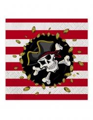 16 Serviettes en papier pirates rouges et noires 33 x 33 cm