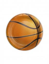 8 Petites assiettes en carton ballon basket 18 cm