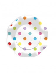 10 Assiettes en carton pois multicolores 23 cm