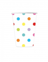 8 Gobelets en carton pois multicolores 200 ml