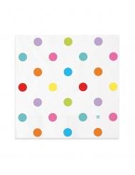 20 Serviettes en papier pois multicolores 33 x 33 cm