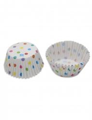 48 Moules à cupcake en carton pois multicolores 5 x 2 cm