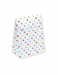 25 Boîtes en carton blancs pois multicolores 6 x 8 x 3,5 cm