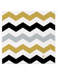20 Serviettes en papier chevrons noirs, argent et dorés 33 x 33 cm