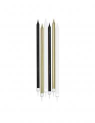 6 Grandes bougies mattes blanches, noires et dorées 15 cm