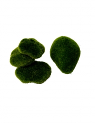 4 Galets de mousse verte de 5 à 10 cm