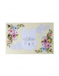6 Sets de table lapinou à colorier fleurs et dorure 30 x 46 cm