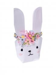 6 Contenants en papier lapinou fleurs et dorure avec ruban satin rose 23 x 12,5 x 5 cm