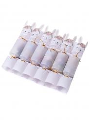 6 Crackers lapinou fleurs et dorure confettis lapin 10 gr 19,5 cm