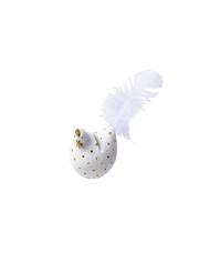 2 Marque-places cocotte blancs pois dorés pailletés et plumes 6 x 5 cm