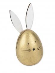 Oeuf lapin en bois porte nom doré 5 x 11 cm