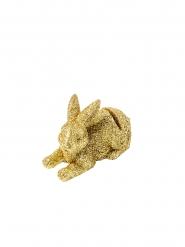 2 Marque-places en résine lapinou paillettes or 7 x 4,5 cm
