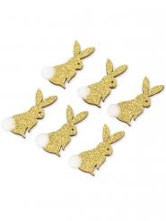6 Adhésifs lapin paillettes or avec pompon blanc 7 x 4 cm