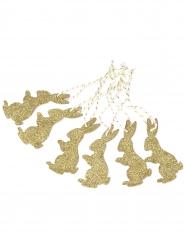 6 Étiquettes lapin en bois paillettes or et ficelle blanche et or 8 x 4 cm