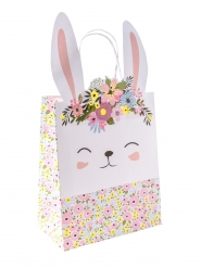 Grand sac cadeaux lapinou liberty et dorure 35 x 18,5 x 10 cm