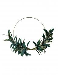 Couronne en métal de feuilles d'olivier cerle doré 30 cm