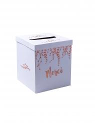 Urne en carton merci végétale rose gold 21 x 21 x 25 cm