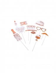 Kit photobooth végétal rose gold 10 accessoires