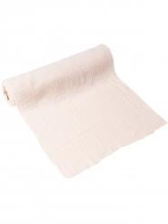 Chemin de table gaze de coton crème 30 cm x 3 m
