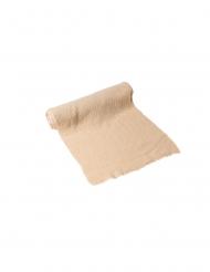 Chemin de table gaze de coton beige 30 cm x 3 m