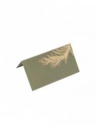 10 Marque-places en carton pampa kaki et dorure or 9 x 5 cm