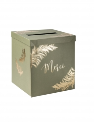 Urne en carton merci pampa kaki et dorure or 21 x 21 x 25 cm