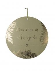 Pancarte en carton Bienvenue au mariage de ... kaki et dorure or 38 cm