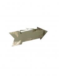 Flèche signalétique pampa kaki et dorure or 39 x 14,5 cm