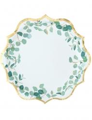 8 Assiettes en carton eucalyptus vert et dorure or 23 cm