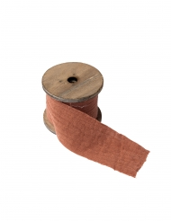 Ruban gaze de coton vieux rose 4,5 cm x 3 m