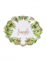 8 Assiettes en carton tropical jungle vert et dorure or 23 cm
