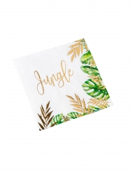 16 Serviettes en papier tropical jungle vert et dorure or 33 x 33 cm