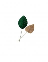 2 Feuilles de magnolia velours vert et paillettes or 10 x 32 et 12 x 41 cm