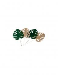 4 Feuilles tropicales 2 velours vert 2 paillettes or 5,8 x 7 cm