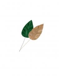 2 Feuilles de magnolia velours vert et paillettes or 6,5 x 21 cm