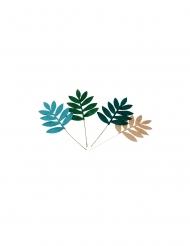 4 Feuilles de palme velours vert et paillettes or 5,6 x 6,5 cm