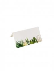 10 Marque-places en carton tropicaux ivoire avec dorure 9 x 5 cm
