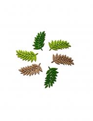 6 Feuilles de laurier en bois vert et paillettes dorées 2 x 4,5 cm