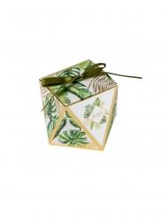 10 Contenants en carton tropical ivoire avec dorure avec ruban 6 x 7,8 cm