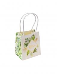 6 Sacs à goodies en carton merci tropical ivoire avec dorure 11 x 10 x 7 cm