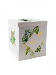 Urne en carton tropical merci ivoire avec dorure 21 x 21 x 25 cm