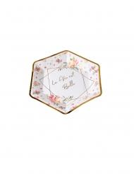 8 Assiettes en carton aquarelle la vie est belle dorées 23 cm