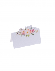 10 Marque-places en carton aquarelle blancs 9 x 5 cm