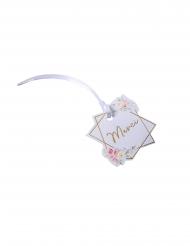 10 Étiquettes en carton aquarelle Merci dorure avec ruban satin 5,5 x 5,2 cm